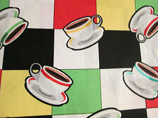 RETRO COFFEE CUPS DINER DRINKS COTTON FABRIC BTHY
