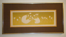 ART BY MAR CUTE VTG 1970s MCM MODERN EMBOSSED SERIGRAPH LONG LEGGED CHICKS&EGG