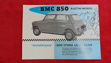BMC 850 AUSTIN MORRIS MINI SWEDISH SINGLE PAGE SALES BROCHURE EARLY MK1