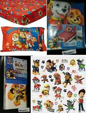 NEW NICKELODEON PAW PATROL COMBO. 2 PIECES TODDLER BED SET & 37 WALL DECALS.