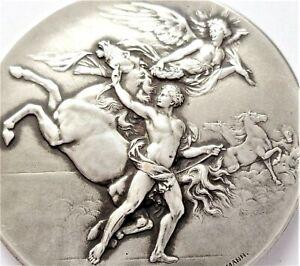 GORGEOUS HORSES WITH TAMER & ART NOUVEAU LADY ANGEL ANTIQUE ART MEDAL by ERDMANN