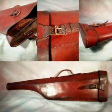 Edwardian Vintage Antique Leather Shotgun motor Case Leg Mutton gun rifle C1930