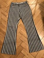 Authentic Vintage 1960s Anvil Brand Bell Bottoms Flares Stripy Denim Twill, 27''