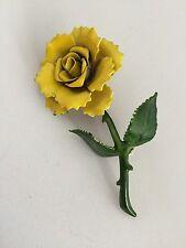 Beautiful Vintage Single Yellow Rose Flower Enamel Brooch