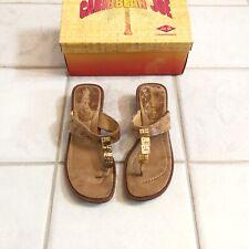 5e288fabd Caribbean Joe Edith Kitten Heel Thong Sandals Size 8 Tan Brown