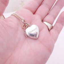 9ct gold & silver Welsh Clogau heart locket pendant on chain, boxed,9k 375, 925