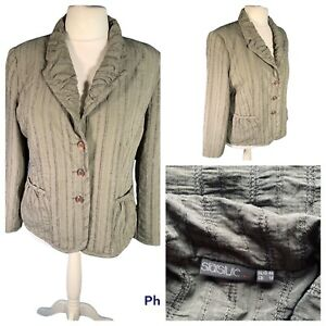 Ladies Khaki Jacket Size 18 STAR STYLE Smart Pockets Ruched Lapel Casual 🌹