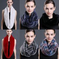 Women 100% Real Rabbit Fur Winter Warm Fashion Fur Scarf Real Fur Wraps Gifts