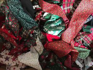 CHRISTMAS 130g COTTON FABRIC RAG WREATHS FESTIVE CRAFTS REMNANTS STRIPS SCRAPS