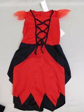 Classic Devil Girl's Halloween Costume Red & Black Dress Only Child Small #5455