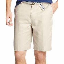 "IZOD NEW Men's Khaki Lightweight Solid 10.5"" Inseam Flat Front Shorts 30 TEDO"