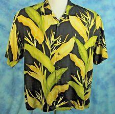 Tommy Bahama Mens XXL Hawaiian Shirt Black 100% Silk Coconut Buttons Aloha NICE