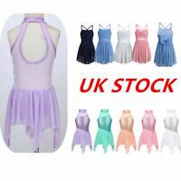 UK Girls Ballerina Dance Dress Latin Gym Ballet Leotard Sequins Skirts Dancewear