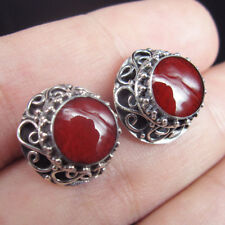 Quality RED CORAL & 925 Sterling Silver STUD Earrings Jewelry