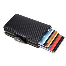 Anti Theft Credit Card Leather Wallet RFID Blocking Purse Double Aluminium Metal