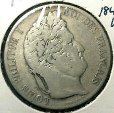 🔥 1845-W 🔥 France 5 Francs Louis Philippe VG Lille Mint ✨ Silver Crown Coin 🤴