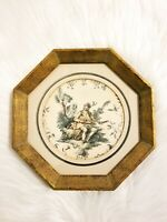 Early - Mid-century Octagonal Gold Wood Framed & Matted String Instrument Player