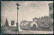 Venezia Chioggia Ponte e Colonna Vigo cartolina QT4017
