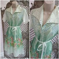 ATTIC FIND UK 14 16 Vintage Retro Green Floral Garden Print Tea Day Dress