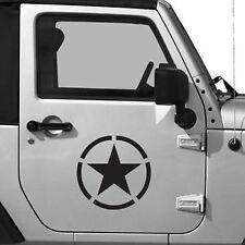 """(2x) 10"""" Army Distressed Star WWII Emblem Decals Jeep Trucks U.S Military Look"""
