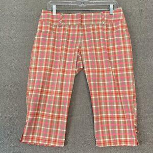 Adidas Climalite Pants Womens Size 4 Lightweight Golf Plaid Capri-Stye Pink Tan