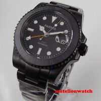 Parnis 40mm BLACK PVD Automatic Mens Watch Red GMT sapphire luminous Date window