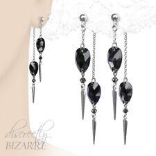 Long Sterling Silver Swarovski Grey Black Crystal Front Back Chain Drop Earrings