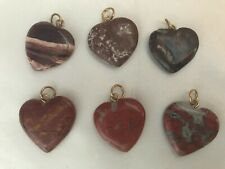 Red Agate Red Jasper Heart Beads Charms Pendants 20 mm with bail - Lot of 6 Nice