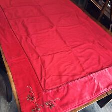Christmas Red Velvet Tablecloth With Beaded Ribbon Poinsettia Embroidery Cotton