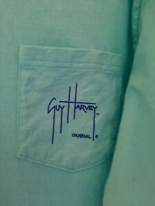 NWOT Guy Harvey Blue Water Men's LS Pocket T-Shirt Southern Classic Size Large L