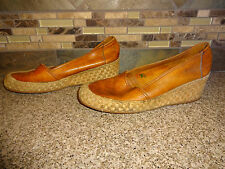 Vintage Womens Sz 7.5B Camel Brown Leather Wedge Heels Shoes Made in Brazil