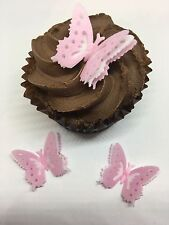 12 PreCut Pink White Triple Layered 3D Edible Wafer Paper Butterfly Cake Toppers