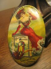 early 1900 Continental Cubes pipe tobacco celluloid advertising mirror