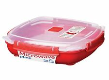 Sistema Microwave Large Plate with Removable Steaming Tray, 1.3 L - Red Clear
