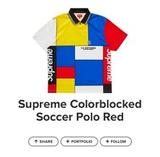 supreme soccer polo red new
