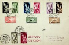 IFNI MOROCCO 1954 FLOWERS 11v ON AIRMAIL FDC TO BARCELONA IN SPAIN