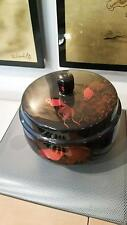 Vietnamese large Lacquer thanh le GOLD FISH ROUND BOWL WITH COVER