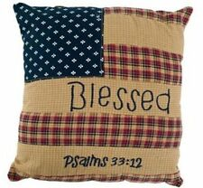 "PATRIOTIC PATCH MINI ACCENT PILLOW 10X10"" BLESSED PSALMS 33:12 FLAG DESIGN"