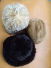 3 (LOT) MINT CANADIAN FUR HAT HATS WOMAN WOMEN 1 MINK 1 MUSKRAT 1 MONTANA LYNX