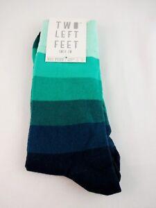 Striped Socks Blue Green Wide Stripes Ladies Large XL Cotton Blend