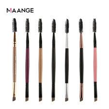 Double Ended Flat Angled Eyebrow Brush Eyeliner Mascara Shaping Duo Makeup Brush