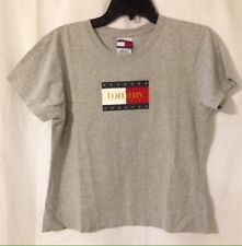 Tommy Jeans Hilfiger Color Bar Logo Women's Gray Crop Top T-Shirt Large USA