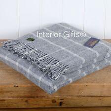 PURE NEW WOOL British THROW CLASSIC GREY CHECK WINDOWPANE Blanket Picnic Rug