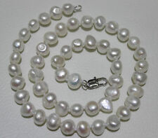 Elegant Natural  8-9mm white baroque freshwater cultured pearl Necklace 18""