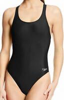 Speedo Womens Swimwear Solid Black Size 8 /34 Super Pro LT One Piece $39- 296