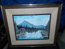 Original Mountain Cabin Forest Lake Landscape Signed R.A. 1993 Painting
