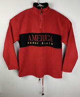 Vintage Perry Ellis America Quarter Zip Fleece Jacket Red Mens M Medium
