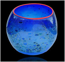 DALE CHIHULY Original Hand Blown Glass Cobalt Blue Basket Signed Macchia Artwork