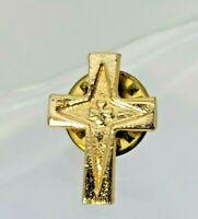 "Vintage Ballou Religious Cross PinBack- Lapel Pin- Gold Tone- 1/2"" wide"