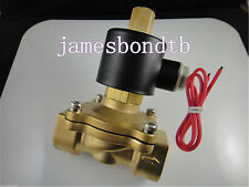 "Brass Electric Solenoid Valve Water Air N/O 12V DC 1"" Normally Open Type"